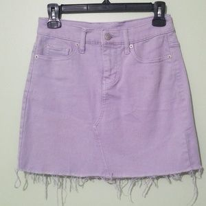 Purple Distressed Jean Skirt